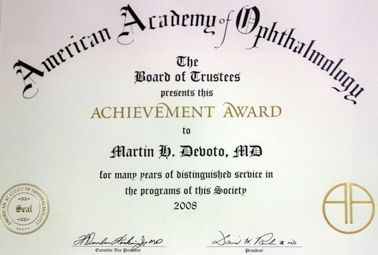 Achievement Award, American Academy of Ophthalmology 2008