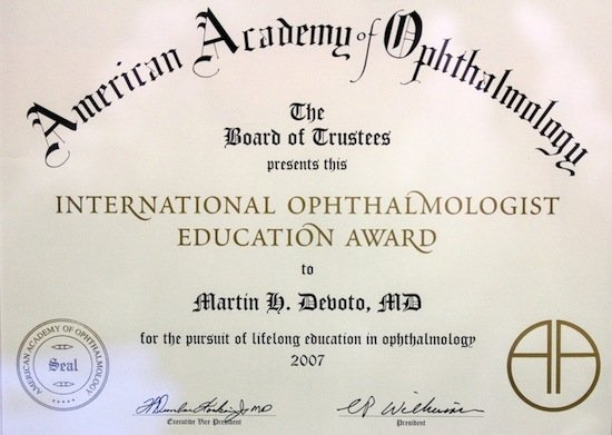 Premio de la American Academy of Ophthalmology, 2007